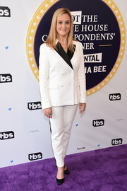 Samantha Bee opted for a double-breasted Altuzarra suit with contrast lapels for the Not the White House Correspondents' Dinner.