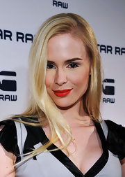 Ariane Sommer wore a fiery orange-red lipstick at the G-Star Rodeo Drive store opening.