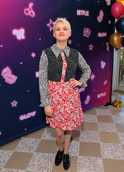 Kimmy Gatewood went retro in a mixed-print shirtdress by Sister Jane at the special screening of 'GLOW' season 3.