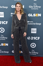 Ellen Pompeo was all about easy sophistication in this gunmetal jumpsuit by Naeem Khan at the GLSEN Respect Awards.