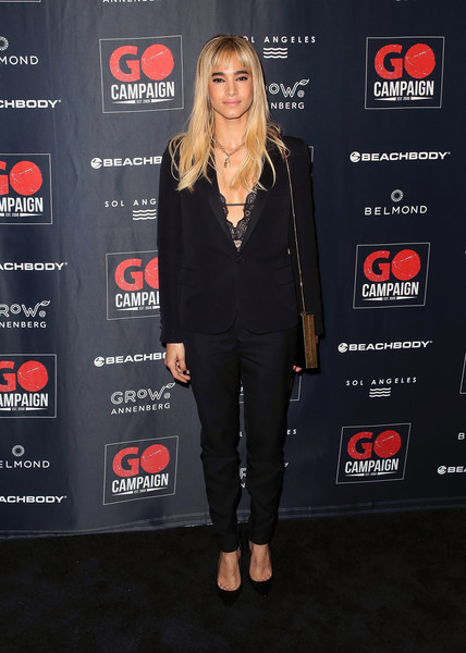 Sofia teamed a black pantsuit with a lacy top for the 2018 GO Campaign Gala.