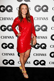 This ruby red sequined dress was quite the statement outfit on Michelle Bridges. The whole look was simple and loud at the same time.