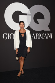 Hannah Bronfman tempered her sexy ruched LBD with a white blazer when she attended the GQ and Giorgio Armani Grammy after-party.