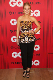 Emma Freedman looked striking in her strapless animal-print peplum top during the GQ Men of the Year Awards.
