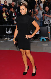 Jessica Ennis went for head-to-toe sophistication with a pompadour, a breathtaking LBD, and classic patent leather platform pumps.