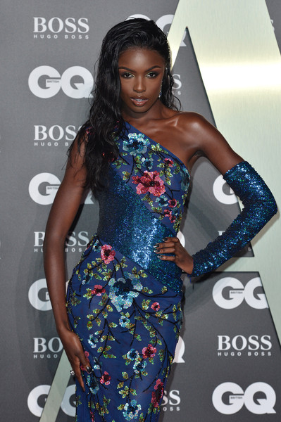 More Pics of Leomie Anderson Long Wavy Cut (1 of 3) - Long Hairstyles Lookbook - StyleBistro [clothing,dress,shoulder,hairstyle,fashion model,fashion,cocktail dress,long hair,premiere,carpet,red carpet arrivals,leomie anderson,gq men of the year awards,england,london,tate modern]
