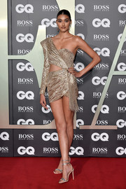 Neelam Gill sizzled in a one-shoulder gold cutout dress by Julien Macdonald at the 2019 GQ Men of the Year Awards.