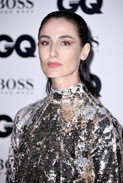 Erin O'Connor attended the GQ Men of the Year Awards sporting a wet-look hairstyle.
