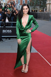 Jessie J kept the focus on her sexy dress by wearing simple black ankle-strap sandals by Saint Laurent.