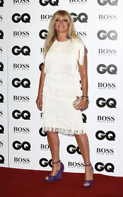 Jo Wood chose a 1920s-glam fringed cocktail dress for her GQ Men of the Year Awards red carpet look.