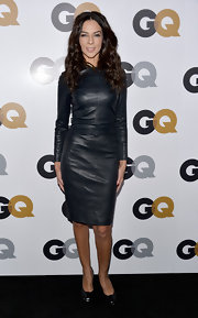 Terri Seymour brought the heat to the GQ Men of the Year Party in this tight black leather dress.