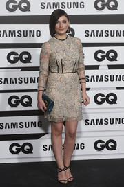 Miriam Giovanelli chose a beaded sheer-overlay dress for her GQ Men of the Year Awards look.