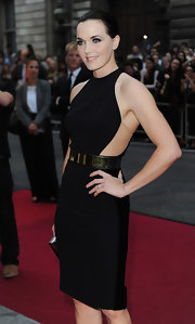 Victoria Pendleton looked amazingly svelte in a mod LBD that featured a gold belt and see-through side panels.