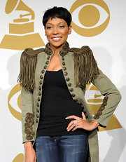 Monica flaunted her large diamond ring while attending the Grammy Nomination concert.