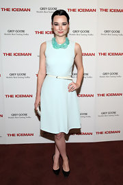 Kristen Ruhlin chose a pale blue frock with a bold statement necklace for her chic and classic look on the red carpet.