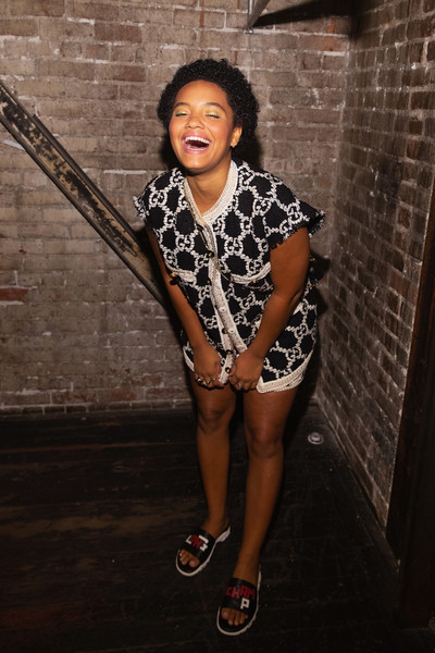 Kiersey Clemons stayed casual and comfy in a pair of slides at the Nordstrom event in Seattle.