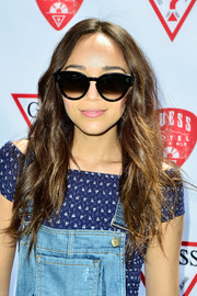 Ashley Madekwe accessorized with a pair of oversized cateye sunnies for a cool finish to her look.