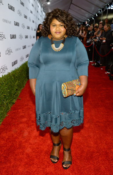 Gabourey Sidibe Printed Clutch [clothing,red carpet,carpet,dress,flooring,premiere,cocktail dress,fashion,footwear,long hair,red carpet,gabourey sidibe,neuehouse hollywood,california,los angeles,glamour women of the year]