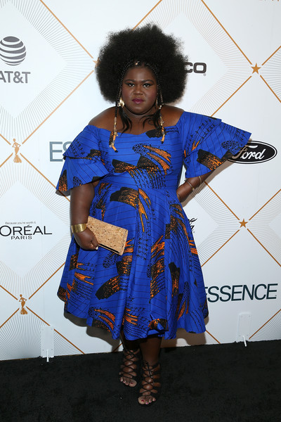 Gabourey Sidibe Off-the-Shoulder Dress [clothing,blue,hairstyle,fashion design,cobalt blue,fashion,electric blue,dress,costume,carpet,gabourey sidibe,arrivals,beverly hills,california,beverly wilshire four seasons hotel,essence 11th annual black women in hollywood awards gala]