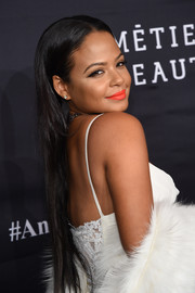 Christina Milian sported super-long straight tresses at the Angel Ball 2016.