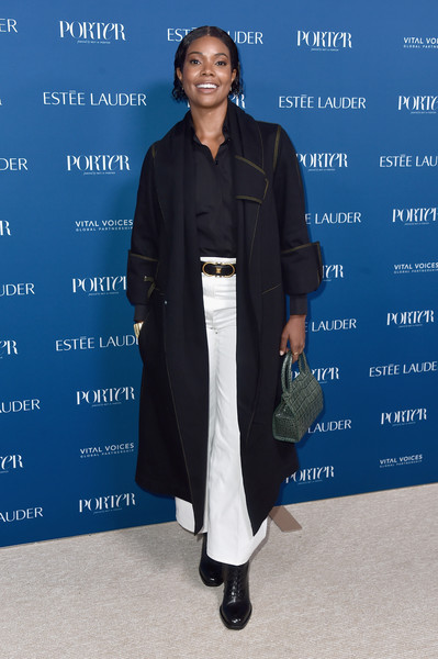 Gabrielle Union Combat Boots [fashion,outerwear,event,electric blue,fashion design,incredible women gala 2018 - arrivals,porter,gabrielle union,los angeles,the ebell,california,third annual incredible women gala]