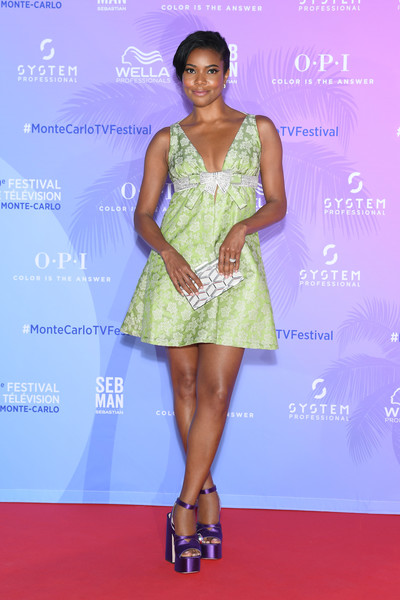 Gabrielle Union Box Clutch [clothing,dress,fashion model,cocktail dress,fashion,red carpet,carpet,hairstyle,shoulder,fashion design,gabrielle union,monte-carlo,monaco,tv series party,monte carlo tv festival]