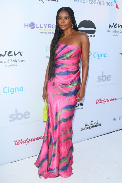 Gabrielle Union Strapless Dress [clothing,shoulder,dress,fashion model,fashion,hairstyle,beauty,strapless dress,long hair,joint,designcare gala - arrivals,gabrielle union,malibu,california,hollyrod foundation,annual designcare gala]