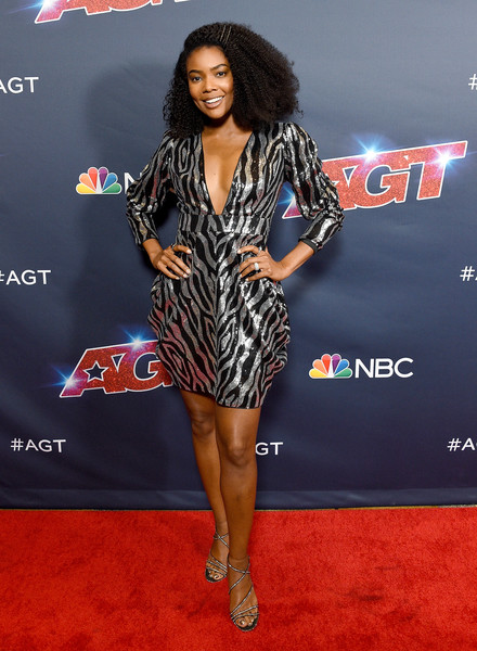 Gabrielle Union Strappy Sandals [americas got talent,season,red carpet,carpet,clothing,premiere,fashion,dress,thigh,flooring,event,leg,red carpet,gabrielle union,california,hollywood,dolby theatre]