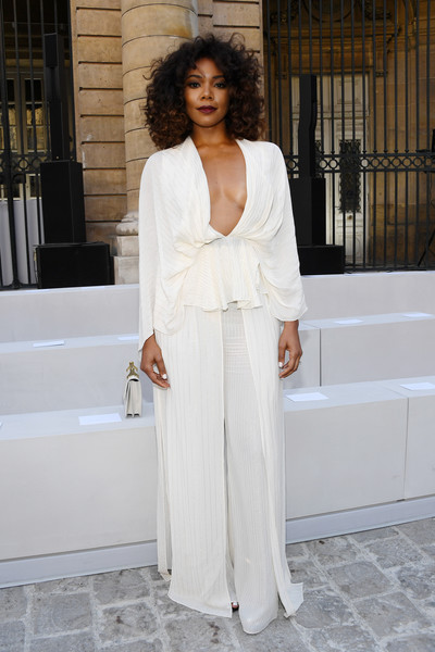 Gabrielle Union Wide Leg Pants [white,clothing,dress,shoulder,fashion,lady,street fashion,formal wear,gown,neck,gabrielle union,front row,spring,part,summer 2018,paris,berluti,berluti menswear spring,paris fashion week,show]