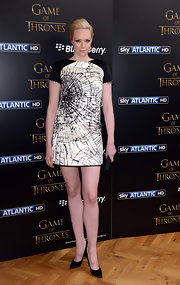 Gwendoline Christie looked stunning in a black and white patterned dress that resembled shattered glass.