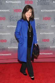 Sally Field brought a striking pop of color to the red carpet with this electric-blue wool coat during the 'Game of Thrones' season 4 premiere.