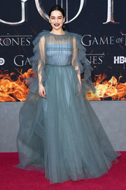 Emilia Clarke worked a slate-blue tulle ballgown by Valentino at the 'Game of Thrones' season 8 premiere.