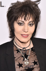 Joan Jett styled her hair into a messy razor cut for the Tribeca Film Festival premiere of 'Geezer.'