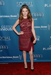 Anna Kendrick looked very ladylike in a burgundy lace cocktail dress by J. Mendel at the Backstage at the Geffen Gala.
