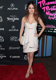 """Rachel kept her look light by pairing """"Maniac"""" heels in nude patent leather with her all white ensemble."""