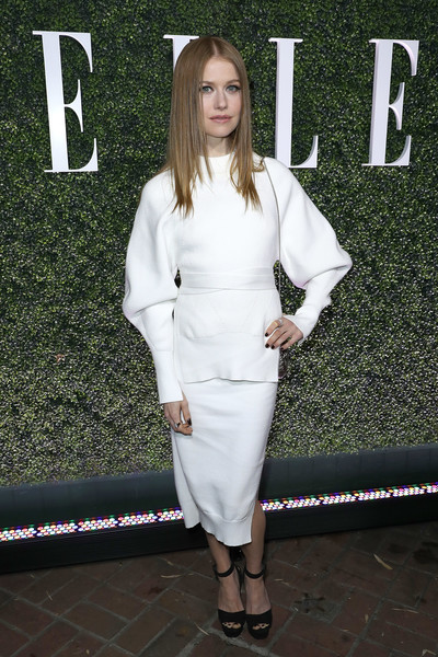 Genevieve Angelson Platform Sandals [red carpet,white,clothing,fashion,dress,footwear,street fashion,outerwear,black-and-white,shoe,cocktail dress,genevieve angelson,los angeles,california,chateau marmont,elle,annual women in television celebration]