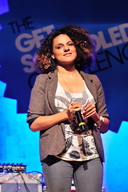 A gray tweed jacket added an elegant touch to Marsha Ambrosius' tank and jeans combo at the Get Schooled event.
