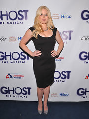 Megan Hilty paired her LBD with silver metallic pumps for the opening night of 'Ghost, The Musical' on Broadway.