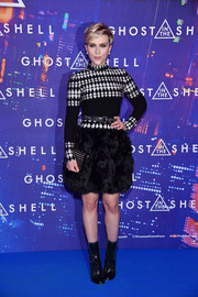 Scarlett Johansson donned a black-and-white harlequin-patterned turtleneck by Alaia for the Paris premiere of 'Ghost in the Shell.'