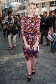 Ludivine looked colorful at the Giambattista Valli show wearing this gathered design.