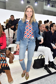 Helena Bordon kept it laid-back in a Silvia Ulson denim jacket layered over an airplane-print shirt at the Giambattista Valli fashion show.