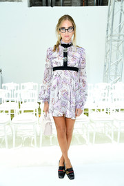 Chiara Ferragni looked sweet in a high-neck paisley-print mini dress by Giambattista Valli during the label's Couture show.