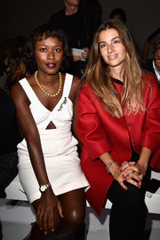 Shala Monroque showed some skin in a little white cutout dress during the Giambattista Valli fashion show.