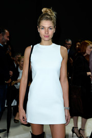 Jessica Hart looked lovely in a classic white mini dress.