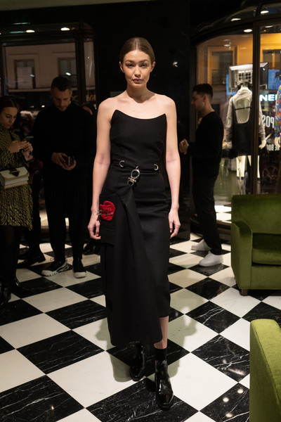 Gigi Hadid Ankle Boots [double exposure,fashion model,clothing,fashion,dress,fashion design,fashion show,black-and-white,shoulder,haute couture,footwear,prada hosts book signing event,willy vanderperre,gigi hadid,prada faubourg st honor\u00e3,paris,france,prada,book signing]