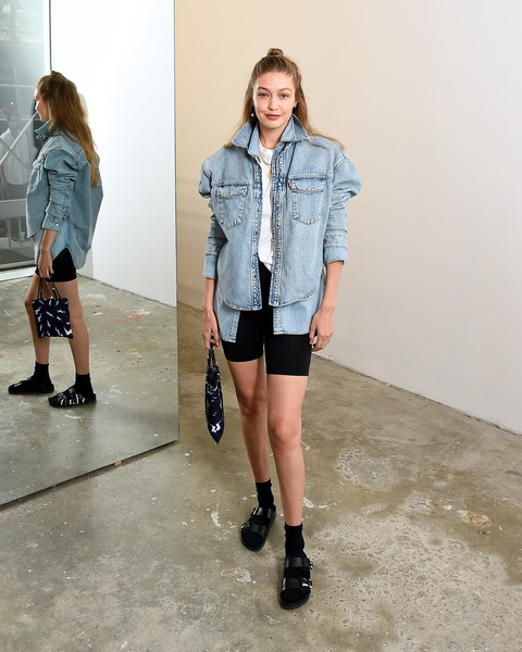 Gigi Hadid Sports Shorts [wardrobe.nyc launches release,denim,clothing,shorts,fashion,shoulder,outerwear,jeans,knee,jacket,street fashion,gigi hadid,denim,collaboration launch,fashion,collaboration,vogue,levis,launch,release,gigi hadid,celebrity,sandal,birkenstock,socks and sandals,valentino,vogue,fashion,image]
