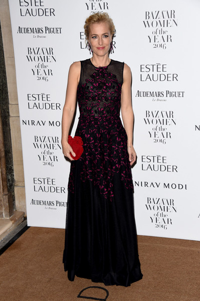 Gillian Anderson Embroidered Dress
