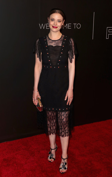 Gillian Jacobs Metallic Clutch [clothing,dress,fashion model,carpet,red carpet,cocktail dress,fashion,little black dress,flooring,premiere,arrivals,gillian jacobs,fysee,beverly hills,california,netflix fysee space,netflix,kick-off,event,fysee kick off event]