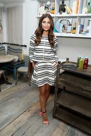 Lily Aldridge made an effortlessly chic choice with this Thakoon black-and-white striped skirt suit for her Fall Refresh collection celebration.