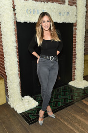 Sarah Jessica Parker glammed up her casual outfit with a pair of sparkly blue Mary Janes from her label.